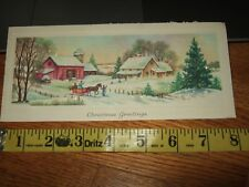 vintage Christmas card glitter country horse sled 436 usa 40s 50s barn trees