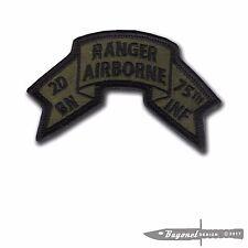 """Hook & Loop - OD Old style US 2nd BN Ranger Scroll - 4"""" x 2 3/8"""" - Merrowed Edge"""