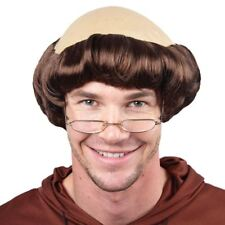Monk Wig Mens Comic Religious Figure Bald Fancy Dress Adults Wig With Cap