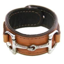 Equestrian Horse Bit Leather Wide Cuff Bracelet Silver Hardware, CAMEL