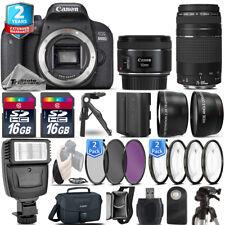 Canon Rebel 800D T7i Camera + 50mm + 75-300 + EXT BAT - 32GB Kit + 2yr Warranty