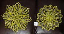 "Set of 2 Gold Hand Crochet Crocheted Round Doilys 18.5"" & 16.5"""