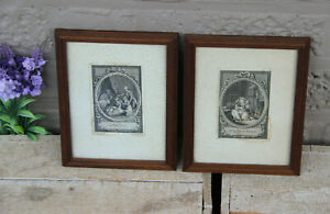 PAIr antique french miniature engravings framed
