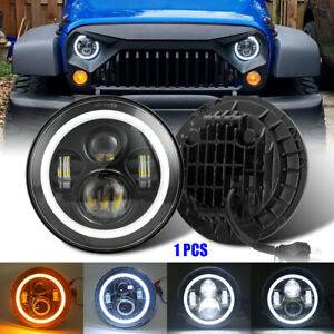 Brightest 7 Inch Round LED Headlight Halo Angel Eye DOT For Wrangler TJ/LJ/CJ/JK