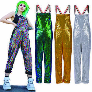 Sequin Dungarees Festival Clothing Outfit Gold Silver Green Sparkle Clothes UK