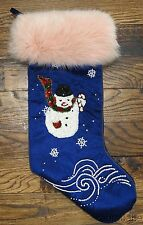 Custom Christmas Snowman Stocking Blue Velvet Pink Fur (Fox ??)