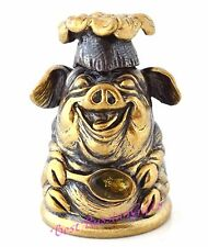 Thimble Brass and Cognac Baltic Amber Pig Chef Cook Miniature Russian Souvenir