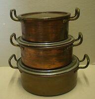 Set Of 3 Graduated Antique W.M.F. Copper Cook Pots With Lids (Cab)