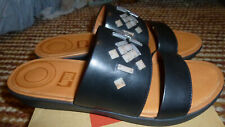new boxed FITFLOP black Delta leather slide crystal sandals shoes size 6/eur 39