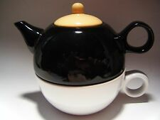 Tea Pot Cup Set for One Old Amsterdam Porcelain Works Brew Black White Gold NEW