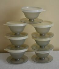 Tupperware Pudding Parfait Dessert Cups w/Lids 754-6 Set of 7 Vintage Smoky Gray