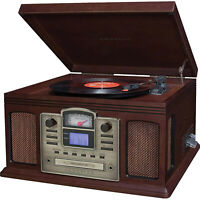 Crosley Director CD Recorder with Cassette And Record Player CR2405C Espresso