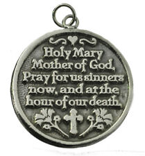 Sterling Silver 925 Virgin Mary Mother of God pray for us Sinners Charm Cross