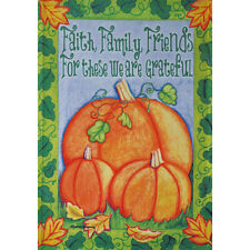 "PUMPKIN PATCH FAITH 12.5"" X 18"" GARDEN FLAG 11-2181-109 RAIN OR SHINE FALL"