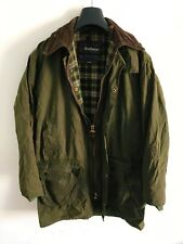 Mens Barbour Border wax jacket Dark Green coat 38 in size Small / Medium S/M #9