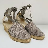 LK Bennett Silver Grey Ankle Tie Fabric Natural Wedge Espadrilles - Size 7 (40)