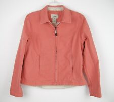 LL Bean Womens Coral Pink Long Sleeve Jean Zip Up Jacket Coat All Cotton Size M