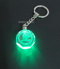 New Car Logo LED night Light color changing crystal Key Chain Keychain For skoda