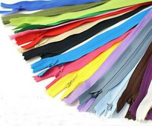 10Pcs Nylon Coil Zippers Closed-end Invisible Zipper Tailor Sewing Crafts 11inch