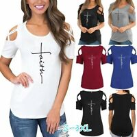 Plus Size Womens Faith T-shirts Summer Cold Shoulder Casual Blouse Loose Tops