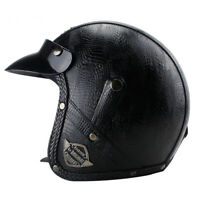 DOT Motorcycle Helmet Deluxe Leather Open Face Half 3/4 Scooter Cruiser Helmet
