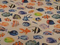 Tropical Fish Digital Printed Linen Cotton Fabric Curtain Upholstery Cushion