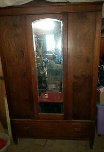 Gorgeous Antique Single Mirror Door OAK Wardrobe