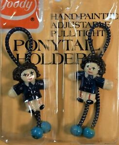 RARE Vintage 1975, 1982 Goody Hand Painted Doll Ponytail Holders Hair Tie NOS