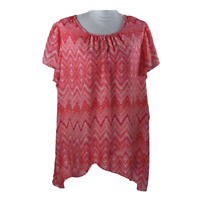 Zac & Rachel Woman Womens Top Short Sleeve Pink White Chevron Shirt Plus Size 2X
