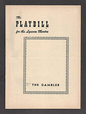 "Alfred Drake ""THE GAMBLER"" Anne Burr / E. G. Marshall 1952 FLOP Playbill"