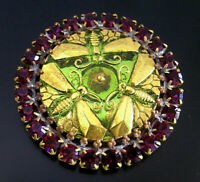 Vintage Style Czech ALL Glass Rhinestone Pin Brooch #T149 - 3 DRAGONFLIES-SIGNED