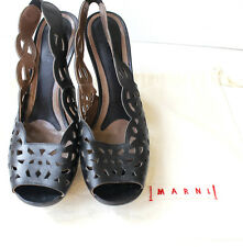 MARNI Black laser cutout Black leather platform wooden slingback heels 41 UK 8