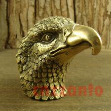 "3"" Cast Brass Hawk Eagle lanneret head Decoration figurine statue"