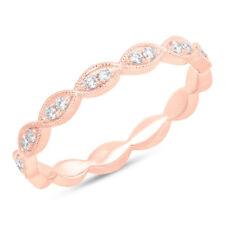 Donna 0.12 Kt 14K Oro Rosa Diamante Taglio Rotondo Naturale Marquise Occhio