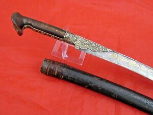 FINE ANTIQUE ISLAMIC SWORD YATAGHAN TURKISH OTTOMAN GOLD SILVER dagger yatagan