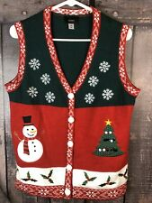 Christmas Sweater Vest Holiday Edition Womens M Snowman Tree Snowflakes Red