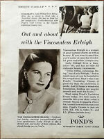Pond's Out and About with Viscountess Erleigh, Society Close-Up Vintage Ad 1950