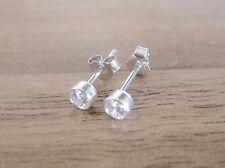 925 Sterling Silver - Clear Crystal Bezel Round CZ Cubic Zirconia Stud Earrings
