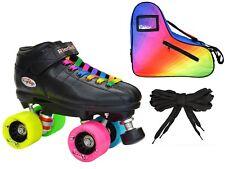 Riedell R3 Rainbow Evolve Quad Roller Derby Speed Skate Le Rainbow Bag Bundle!