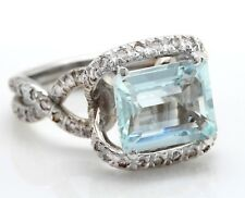 3.84 Carat Natural Blue Aquamarine and Diamonds in 14K Solid White Gold Ring