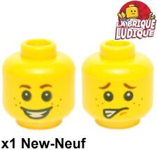 Lego - 1x minifig tête head homme Freckles sourire smile scared 3626cpb1349 NEUF