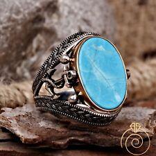 Mens Navy Blue Sailor Band Statement Ring Silver Turquoise Anchor Mariner Seaman