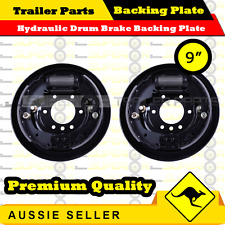 "9"" Hydraulic Drum Brake Backing Plate Box Caravan Boat Trailer - Pair"
