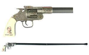 WYATT EARP Revolver Shaped Cane - Walking Stick Pistol Wild West Collectible