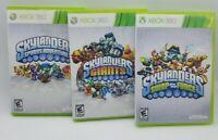 Lot Of 3- Xbox 360 Skylanders Spyros Adventure, Giants, Swap Force