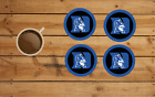DUKE BLUE DEVILS ROUND COASTER SET OF 4 CUSTOM MADE