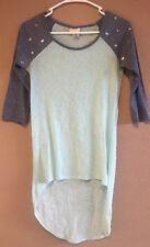 Self esteem women's size Small long back shirt blue top studs