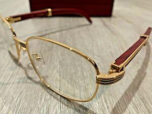 Cartier 7381148 55-22 Men's Gold & Wood Eyeglasses