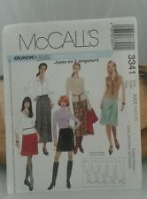 McCall's 3341 Misses A-Line Skirts 5 Lengths Sewing Pattern Size  AAX- 4/6/8/10