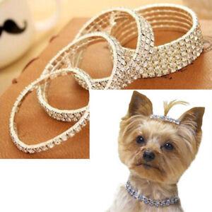 Pets Luxury Necklace Dog Rhinestone Bling Collar Crystal Diamond Elasticity Top